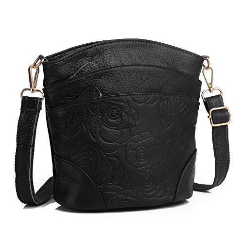 (Genuine Leather Multi Pocket Triple Zipper Crossbody Purse (Black 2))