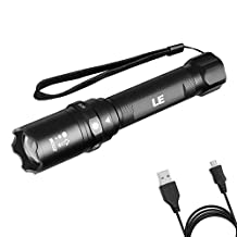 LE 1040lm CREE LED Rechargeable Tactical Flashlight, Focus Adjustable 6 Modes Waterproof IP65 Super Bright Memory Function USB Cable Charging Portable Outdoor Torch