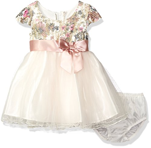 Bonnie Baby Girls' Floral Lace Empire Dress, Ivory, 24 Months