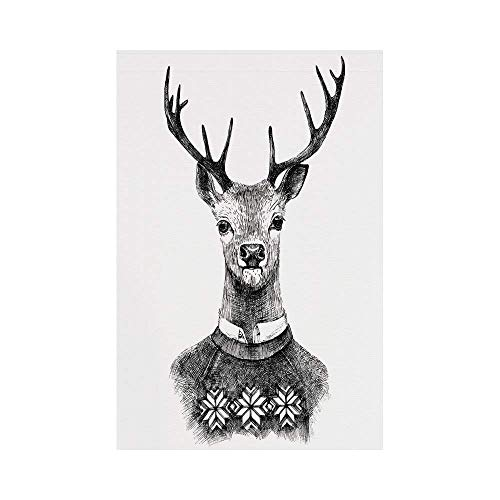 (Polyester Garden Flag Outdoor Flag House Flag Banner,Indie,Hand Drawn Deer Portrait in a Nordic Style Knitted Sweater Hipster Christmas,Charcoal Grey White,for Wedding Anniversary Home Outdoor Garden)