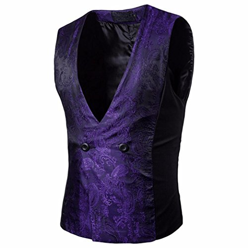 Easytoy Men's Vintage Formal Business Double Breasted Vest V-Neck Waistcoat (Purple, L) by Easytoy