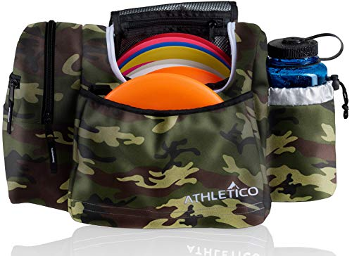 Athletico Disc Golf Bag - Tote Bag for Frisbee Golf - Holds 10-14 Discs, Water Bottle, and Accessories (Green - Deluxe Golf Disc