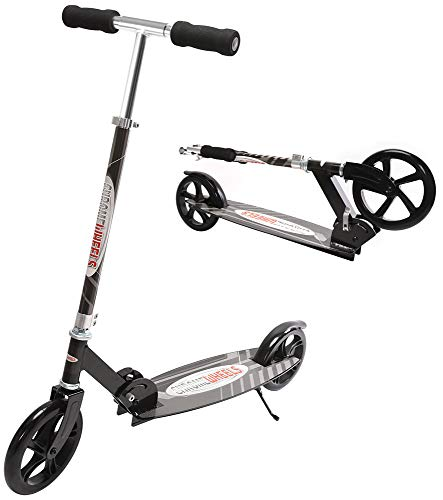 """ChromeWheels Kick Scooter, Deluxe 8"""" Large 2-Wheels Wide Deck 5 Adjustable Height with Kickstand Foldable Freestyle Pro Scooters, Best Gift for Age 6 up Kids Girls Boys Teens, 200lb Weight Limit,Black"""