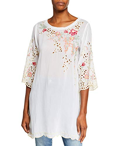 (Johnny Was Women's Belina Floral-Embroidered Georgette Tunic w/Eyelet Detail, White, X-Small)