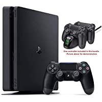 Newest Playstation 4 PS4 1TB Slim Gaming Console w/HESVAP Charging Station Dock