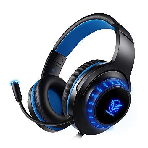 Gaming Headset, 3.5MM Stereo Sound Game Headset for Xbox One/S, PC, iPad, PS4 Headphone,LED Lights Comfortable Earmuffs,Computer Headphone with Noise Canceling Mic, Adjustable Volume Gaming Earphone ()