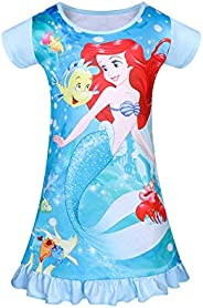 WOW Girls Mermaid Princess Nightgown Summer Pajamas Dress Casual Toddler Sleepwear Nightie Shirts Flutter Slee