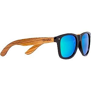 WOODIES Zebra Wood Sunglasses with Green Mirror Lenses