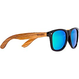 Woodies Zebra Wood Sunglasses with Mirror Polarized Lens for Men and Women 9 <p>Woodies Zebra Wood Sunglasses with mirror lens offer a combination of 100% real zebra wood arms that support a plastic frame. The lightweight zebra wood offers a comfortable fit that is durable and sturdy at the same time. Our unique stainless-steel, double-spring hinges are sturdy and designed to keep their shape year after year. The lenses are specially designed so that they are both dark and polarized, offering 100% UVA/UVB protection even in intense lighting conditions. These glasses are stylish, durable, and natural. Each pair includes a durable black carrying case, a microfiber lens cleaning cloth and a wood guitar pick! 30-Day Money back Guarantee With Woodies, I set out to create the world's best value for $25 sunglasses. Compare these to Shwood, Knockaround Toms, Neff, 4est, Quay, Oakley, and even RayBans! If you're not convinced these are the best quality for $25, we'll give you a full refund. Espanol: Lentes de Sol para Hombre y Mujeres, Gafas Handmade from REAL Zebra Wood (50% Lighter than Normal Sunglasses) Includes FREE Carrying Case, Lens Cloth, and Wood Guitar Pick Polarized Lenses Provide 100% UVA/UVB Protection 30-Day Money Back Guarantee</p>