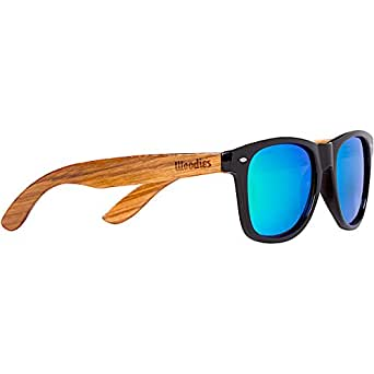 WOODIES Zebra Wood Sunglasses with Green Mirror Lenses