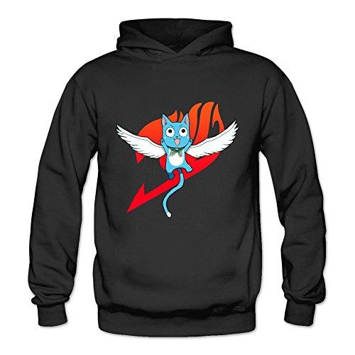 TIKE Women's Fairy Tail Anime The Happy Aye Sir Hood Sweatshirt Color Black Size (Fairy Tail Happy Halloween)
