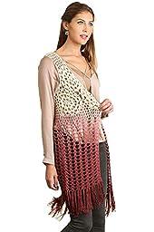 Umgee Women\'s Boho Ombre Crochet Vest (L, Wine/Cream)