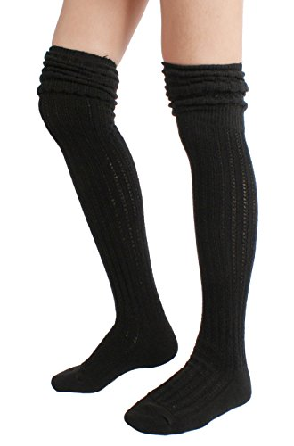 STYLEGAGA Winter Slouch Top Over The Knee High Knit Boot Socks (One Size:XS to M, Slouch (Knee High Boot Tops)