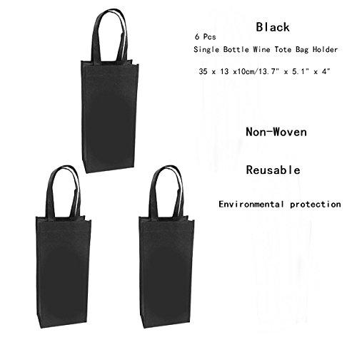 AKOAK 6 Pcs Reusable Environmental Protection Gift Bag,Non-Woven Single Bottle Wine Tote Bag (Non Woven Bottle)