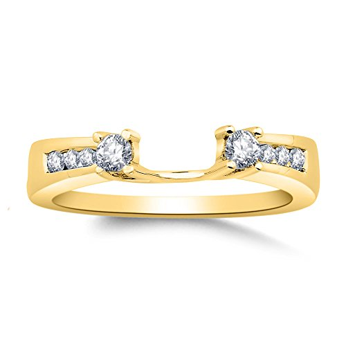 Forever Collection 0.25 Ct CZ Created Simulated Diamonds 14k Yellow Gold Plating Wedding Band Ring Solitaire Guard Enhancer Jewelry Alloy