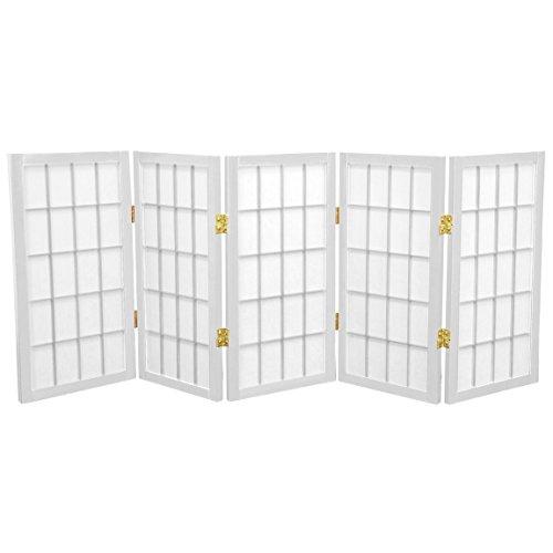 Oriental Furniture 2 ft. Tall Desktop Window Pane Shoji Screen - White - 5 Panels