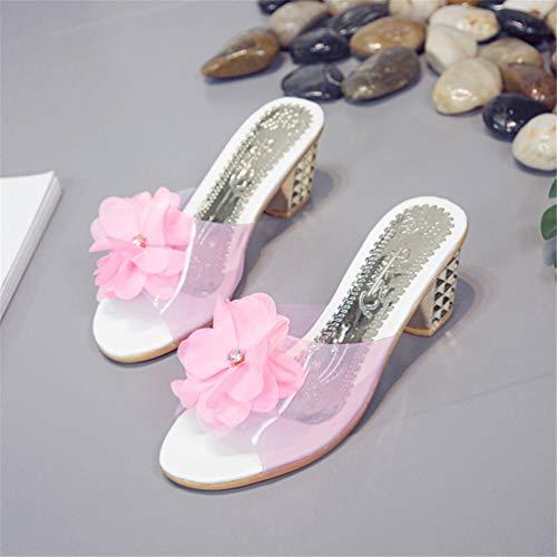 Été Chaussures Toe Femmes Talons Mules Rose Tongs Transparent Fleurs Élégant Sandales Peep Hauts Carrés PYYgw