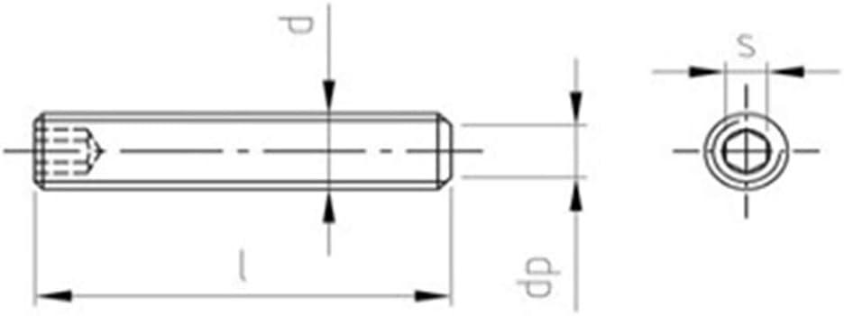 Gewindestifte Edelstahl A2 Rostfrei DIN 913 ISO 4026 V2A Madenschrauben M2 x 10-10 St/ück Kiefer24