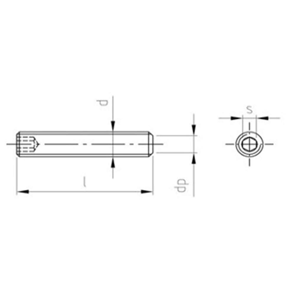 Gewindestifte Edelstahl A2 Rostfrei DIN 913 ISO 4026 V2A Madenschrauben Kiefer24 M3 x 12-50 St/ück