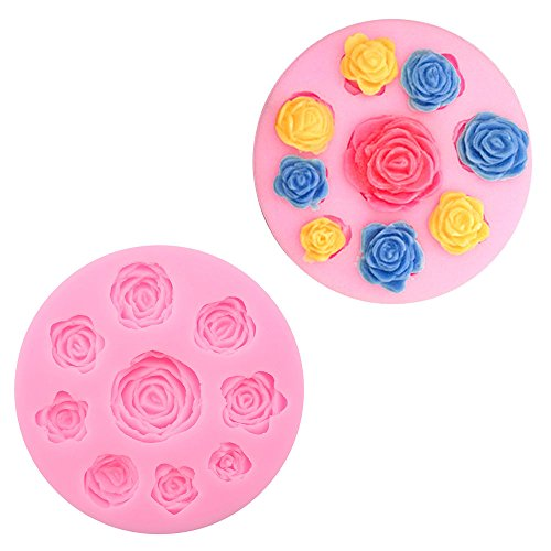 [9 in 1 Silicone Rose Flower Fondant Cake Mold Decoration Mould Chocolate Pink] (Masquerade Masks Near Me)