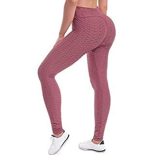 Beyondfab Women's High Waist Textured Butt Lifting Slimming Workout Leggings Tights Mauve 2XL3XL