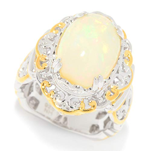 Michael Valitutti Palladium Silver Ethiopian Opal Scrollwork Cocktail Ring