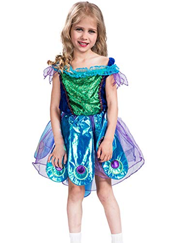 (COSLAND Kids Girls' Peacock Princess Dress Stage Show Costume (Peacock,)