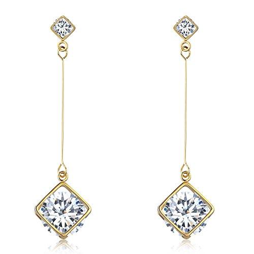 (SBLING 18K Gold Plated Cubic Zirconia Drop Earrings(3.9 cttw; Cube))