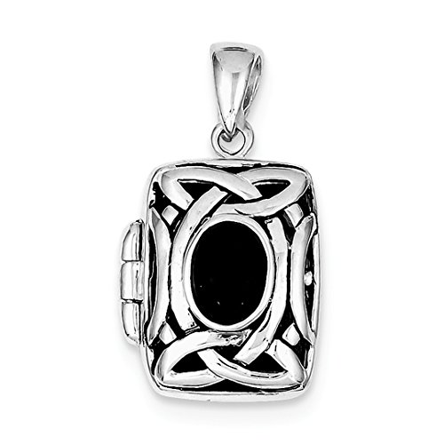 ICE CARATS 925 Sterling Silver Black Onyx Photo Pendant Charm Locket Chain Necklace That Holds Pictures Shaped Fine Jewelry Ideal Gifts For Women Gift Set From Heart
