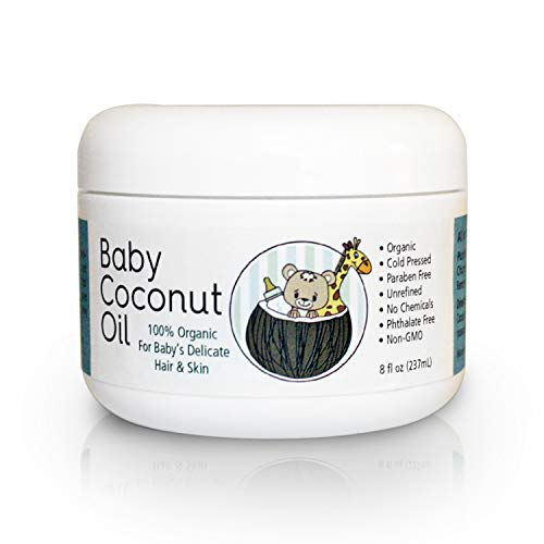 Baby Coconut Oil. Great for hair and skin - Cradle Cap Treatment, Eczema, Massage, Diaper Rash Guard and Stretch Marks - 8 fl. oz.