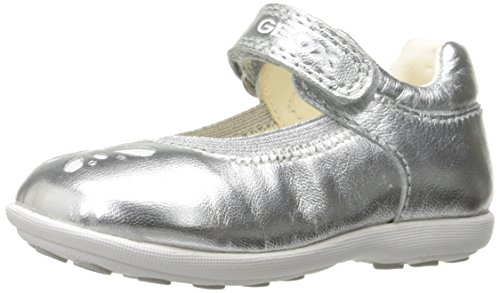 Geox Girls' Baby JODIEGIRL 79 Mary Jane, Silver, 21 BR/5.5 M US Infant - Geox Leather Mary Janes