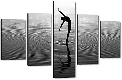 Large Canvas Sexy Girl Dance Wall Art Black White Sexy Lady Window Print Abstract Wall Art Canvas Painting Modern Home Decor Sexy Woman Dancing on The Lake Wall Pictures Framed Easy to Put-60″Wx40″H