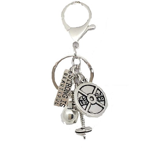 CROSS FIT Weight Lifter Silver Plated Key Chain.STRONG IS BEAUTIFUL,Bar Bell,Weight Plate,& Kettle Bell Key Chain.Knockout Gift for Fitness Fans ()