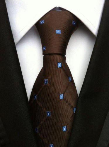 X-wing Pilot Helmet Costume (New Classic Geometric Brown Blue JACQUARD WOVEN 100% Silk Men's Tie Necktie)