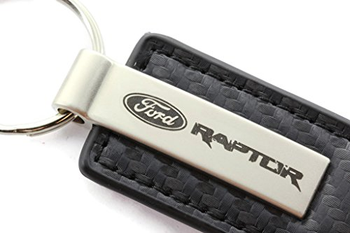 Black Laser Etched Steel Ring (Ford Raptor Black Carbon Fiber Texture Leather Key Chain)