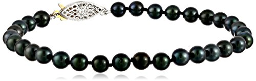 5 0 5 5mm Black Cultured Pearl Bracelet