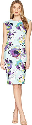 Tahari by ASL Women's Sleeveless Printed Scuba Crepe Sheath Mint/Black/Purple 6