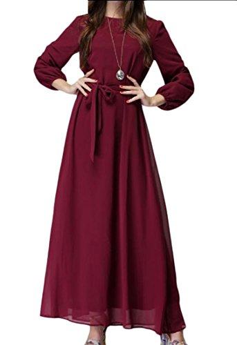 Abaya Fashion Solid Comfy Muslim Tunic Red Women Sleeve Wine Long Islamic nqYI8wYR