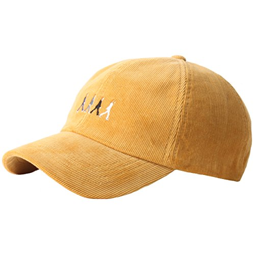 - RaOn B187 Beatles Abbey Road Homage Character Corduroy Ball Cap Baseball Hat Truckers (Yellow)