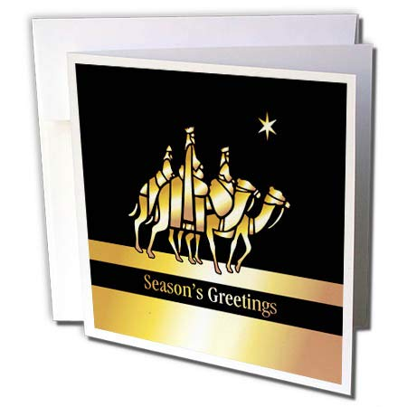 (3dRose Russ Billington Christmas Designs - Image of 3 Wise Men on Camels- not foil Embossed - 6 Greeting Cards with envelopes (gc_298117_1))