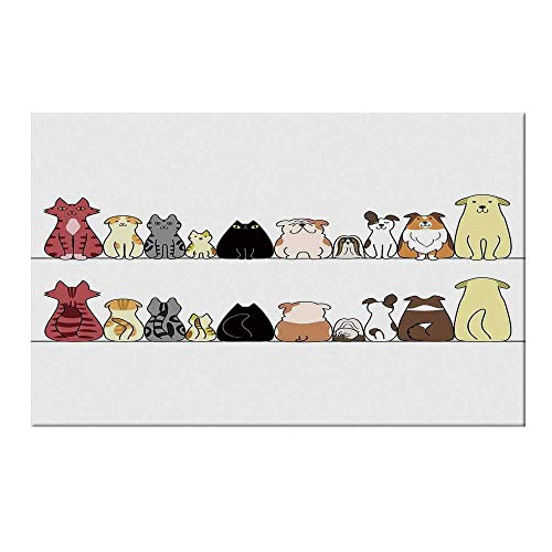 YOLIYANA Kids Durable Door Mat,Cats and Dogs Collie Calico Labrador Scottish Shorthair Tabby Shih Tzu Pet Lovers Art Print Decorative for Home Office,15.7