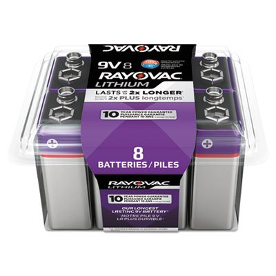 Lithium Batteries, 9v, 8/pack by Rayovac