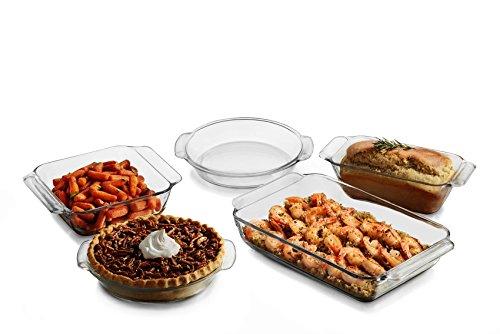 Libbey Baker's Premium 5 piece Glass Serving Dish Set by Libbey
