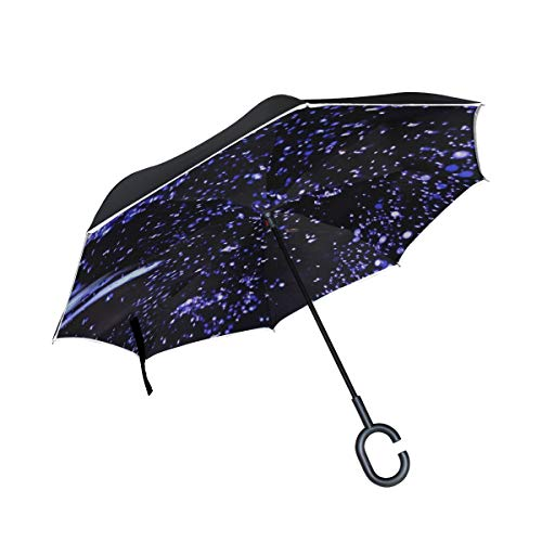 Ryuifi Double Layer Inverted Balloons Water Bubble Light Purple Umbrellas Reverse Folding Umbrella Windproof Uv Protection Big Straight Umbrella For Car Rain Outdoor With C Shaped Handle