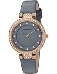 Armitron Womens 75/5455GYRGGY Swarovski Crystal Accented Rose Gold-Tone and Grey Leather Strap Watch