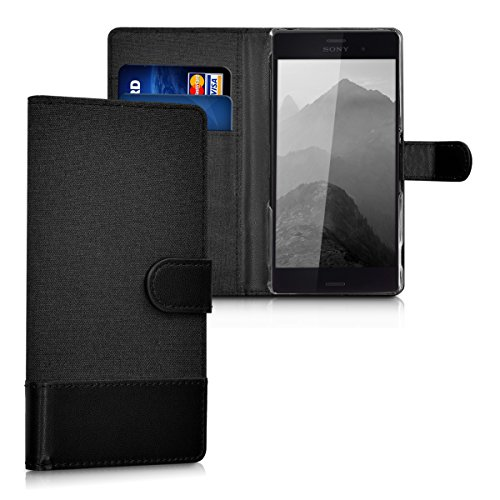 kwmobile Wallet case canvas cover for Sony Xperia Z3 - Flip case with card slot and stand in anthracite black