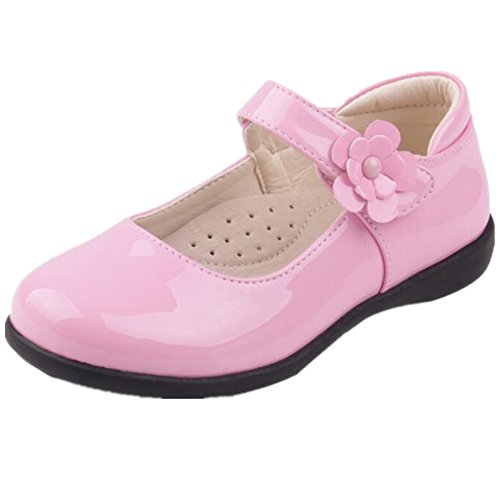 Bumud Kids Girl's School Uniform Mary Jane Flat Shoes(Toddler/Little Kid) (13 M US Little Kid, Pink) - Little Kids Perfect Pink Apparel