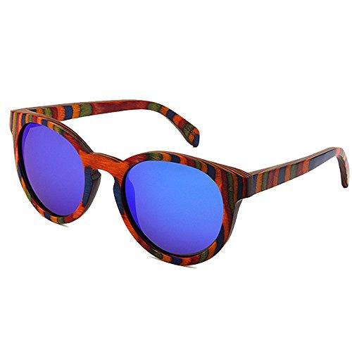 soleil élégant de lunettes la de de cadre protection soleil rétro de lunettes haute de couleur bois lunettes lunettes qualité UV plage soleil à Style femmes de main conduite so Bleu Lunettes soleil unisexe 5p6xT