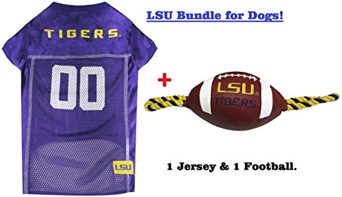 College LSU Tigers PET FOOTBALL TOY & PET JERSEY Bundle, Small. ▬ Tigers Dog Jersey & Football Rope Dog Toy