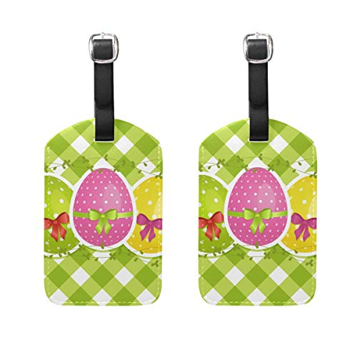 WIHVE Luggage Tags Easter Eggs On Green Gingham Border Suitcase Bag Labels Travel Accessories Set of 2